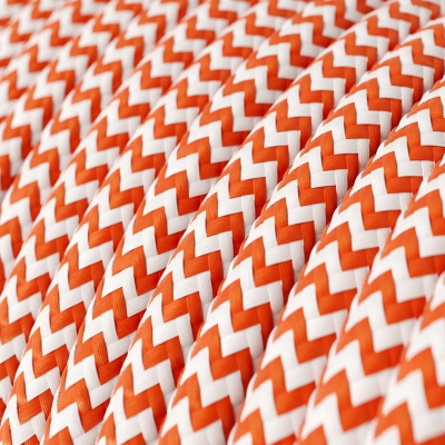 RZ15 Orange ZigZag Round Rayon Electrical Fabric Cloth Cord Cable