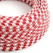 RP09 Red Houndstooth Round Rayon Electrical Fabric Cloth Cord Cable