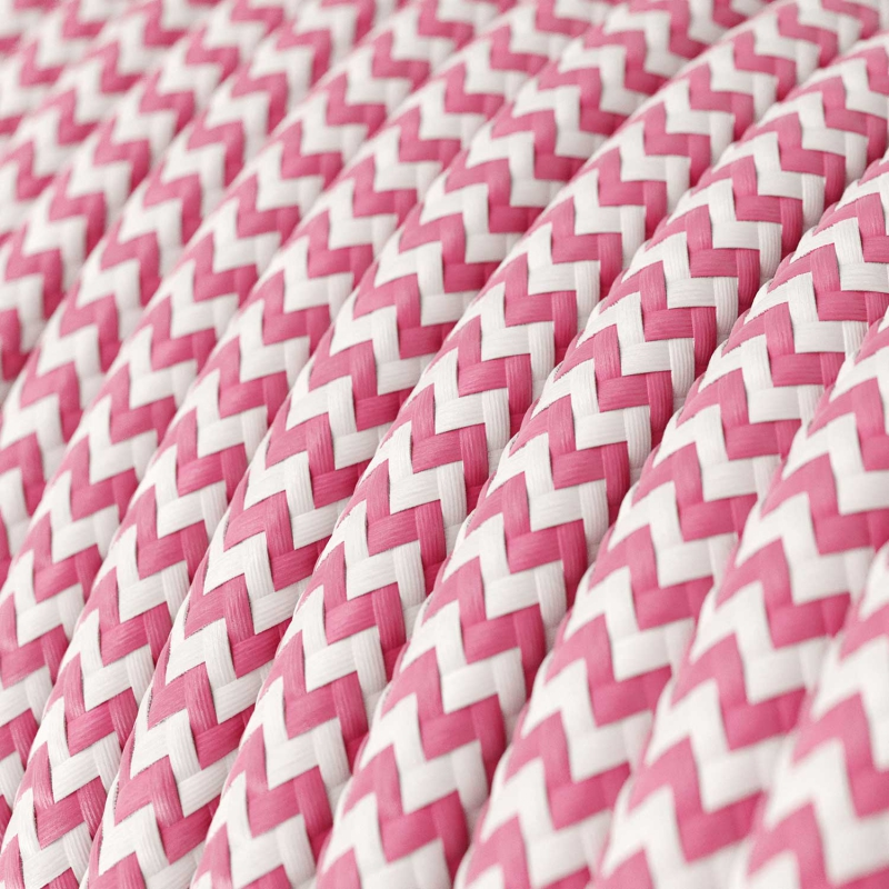 RZ08 Fuchsia ZigZag Round Rayon Electrical Fabric Cloth Cord Cable