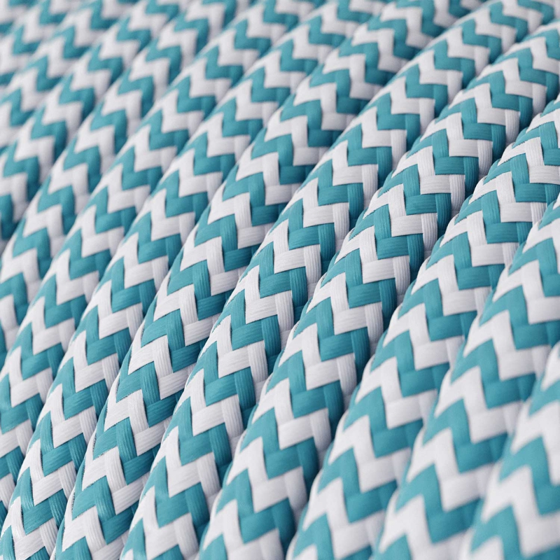 RZ11 Cyan ZigZag Round Rayon Electrical Fabric Cloth Cord Cable