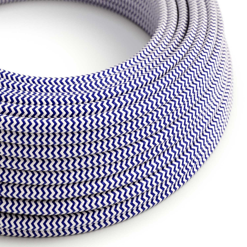 RZ12 Blue ZigZag Round Rayon Electrical Fabric Cloth Cord Cable