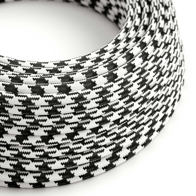 RP04 Black Houndstooth Round Rayon Electrical Fabric Cloth Cord Cable