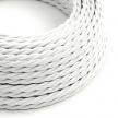 TM01 White Twisted Rayon Electrical Fabric Cloth Cord Cable