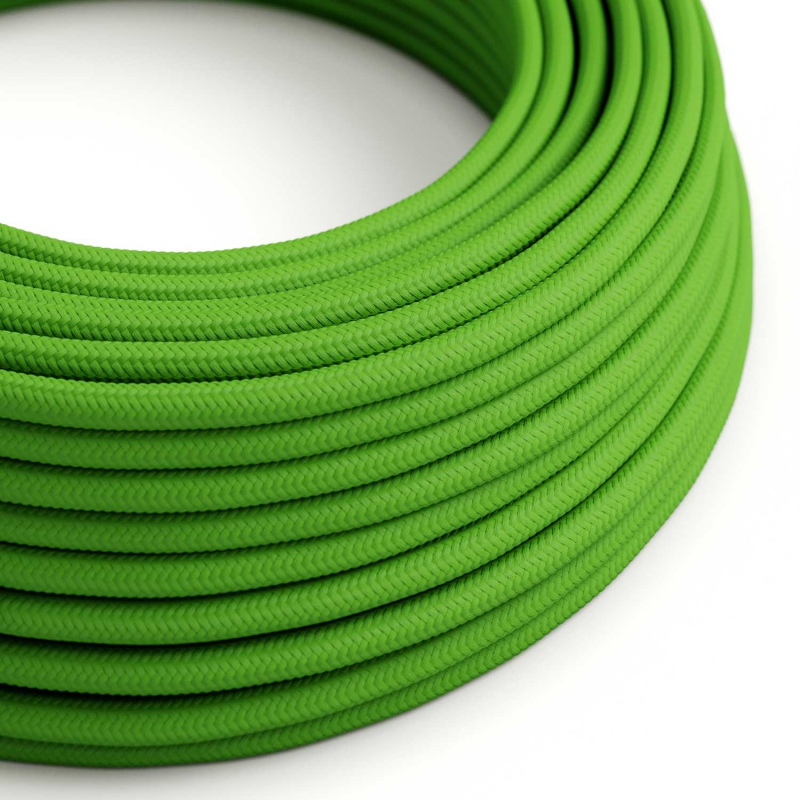 RM18 Green Lime Round Rayon Electrical Fabric Cloth Cord Cable