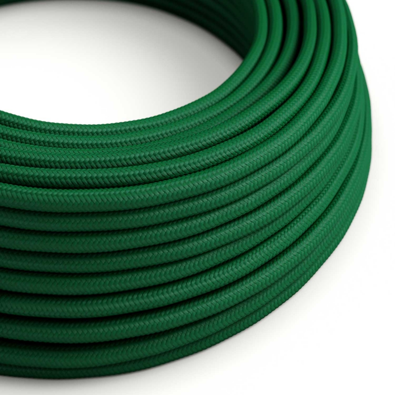 RM21 Dark Green Round Rayon Electrical Fabric Cloth Cord Cable