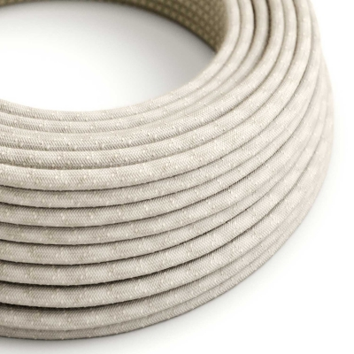 RN01 Natural Neutral Round Linen Electrical Fabric Cloth Cord Cable
