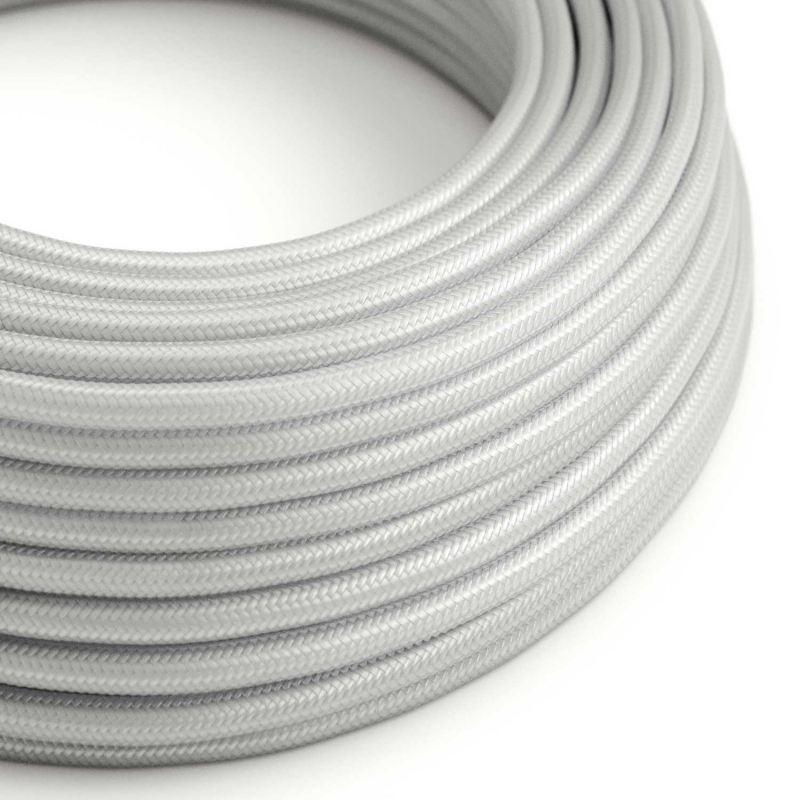 RM02 Silver Round Rayon Electrical Fabric Cloth Cord Cable