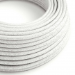 RL01 White Glitter Round Rayon Electrical Fabric Cloth Cord Cable