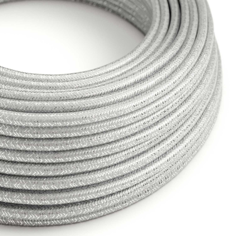 RL02 Silver Glitter Round Rayon Electrical Fabric Cloth Cord Cable