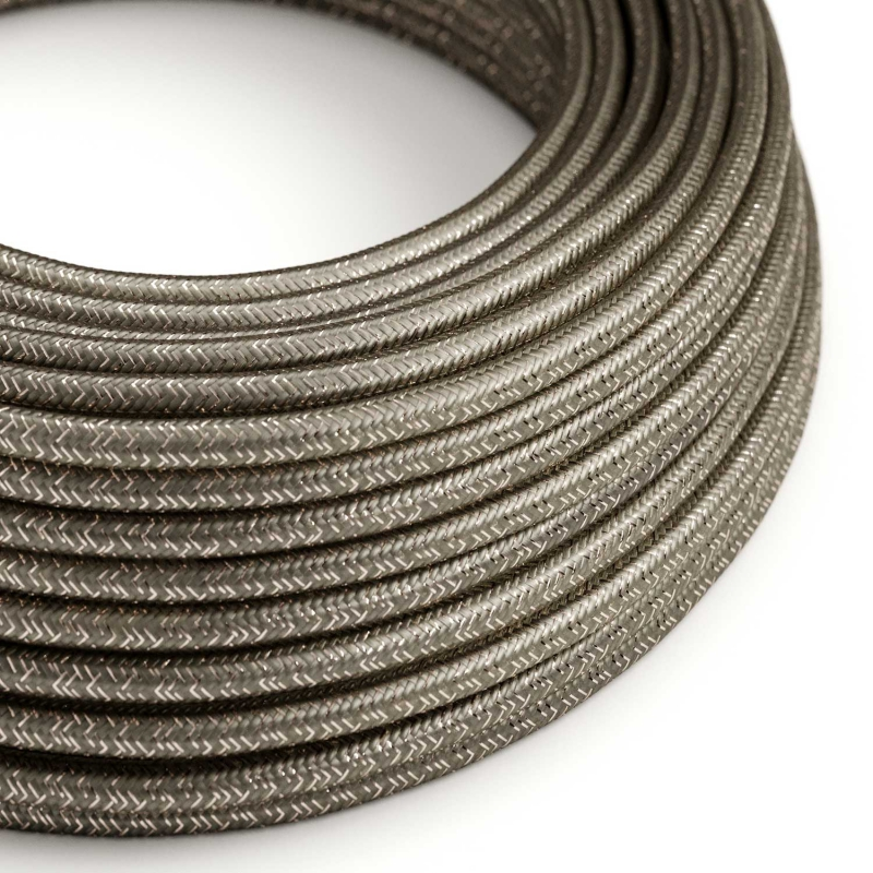 RL03 Dark Grey Glitter Round Rayon Electrical Fabric Cloth Cord Cable
