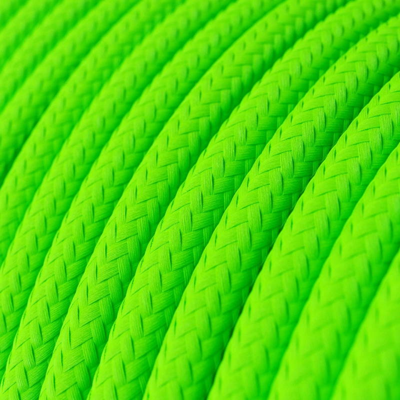 RF06 Neon Green Round Rayon Electrical Fabric Cloth Cord Cable