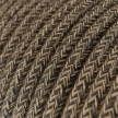 RN04 Natural Brown Round Linen Electrical Fabric Cloth Cord Cable