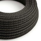 RN03 Natural Anthracite Round Linen Electrical Fabric Cloth Cord Cable