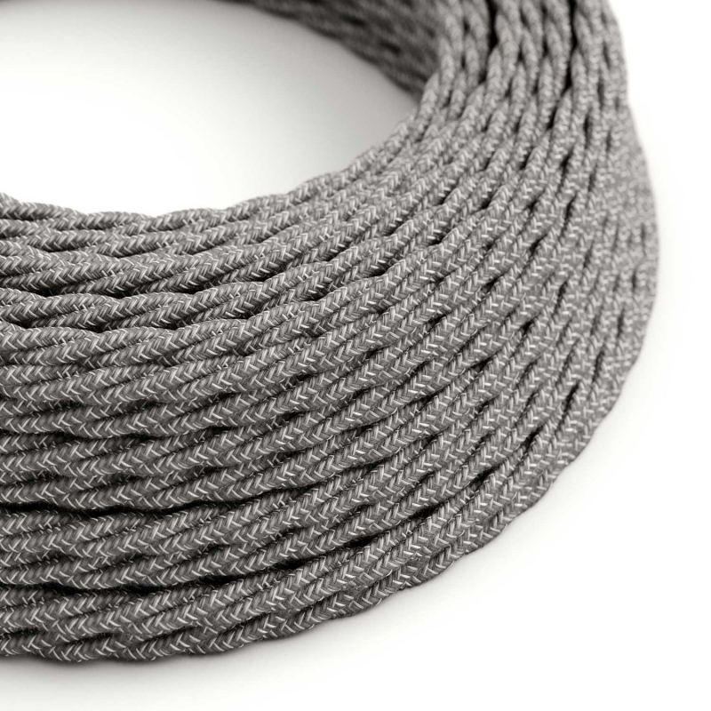 TN02 Natural Grey Twisted Linen Electrical Fabric Cloth Cord Cable