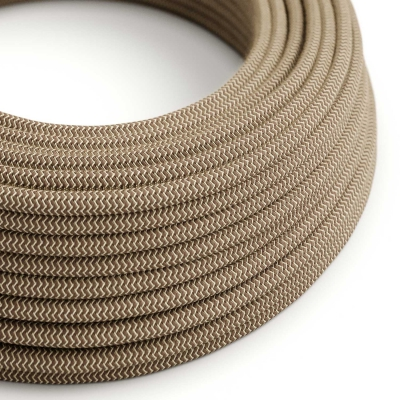 RD73 Colored Bark ZigZag Round Linen & Cotton Electrical Fabric Cloth Cord Cable