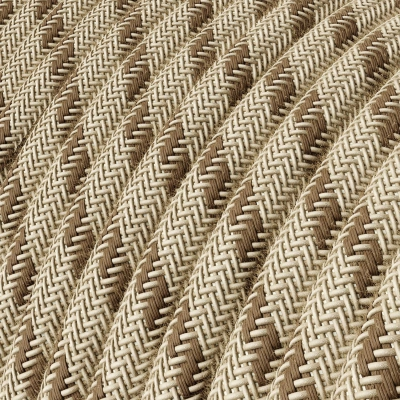 RD53 Colored Bark Stripes Round Linen & Cotton Electrical Fabric Cloth Cord Cable