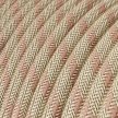 RD51 Ancient Pink Stripes Round Linen & Cotton Electrical Fabric Cloth Cord Cable