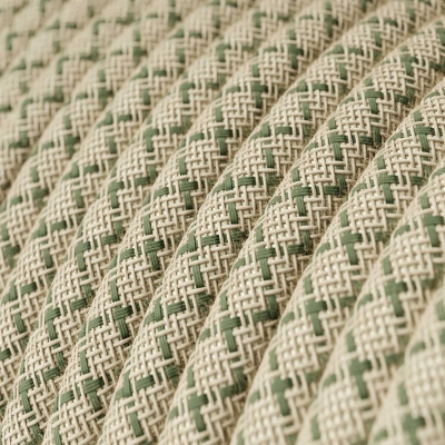 RD62 Green Thyme CrissCross Round Linen & Cotton Electrical Fabric Cloth Cord Cable