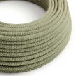 RD72 Green Thyme ZigZag Round Linen & Cotton Electrical Fabric Cloth Cord Cable