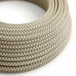 RD64 Anthracite CrissCross Round Linen & Cotton Electrical Fabric Cloth Cord Cable