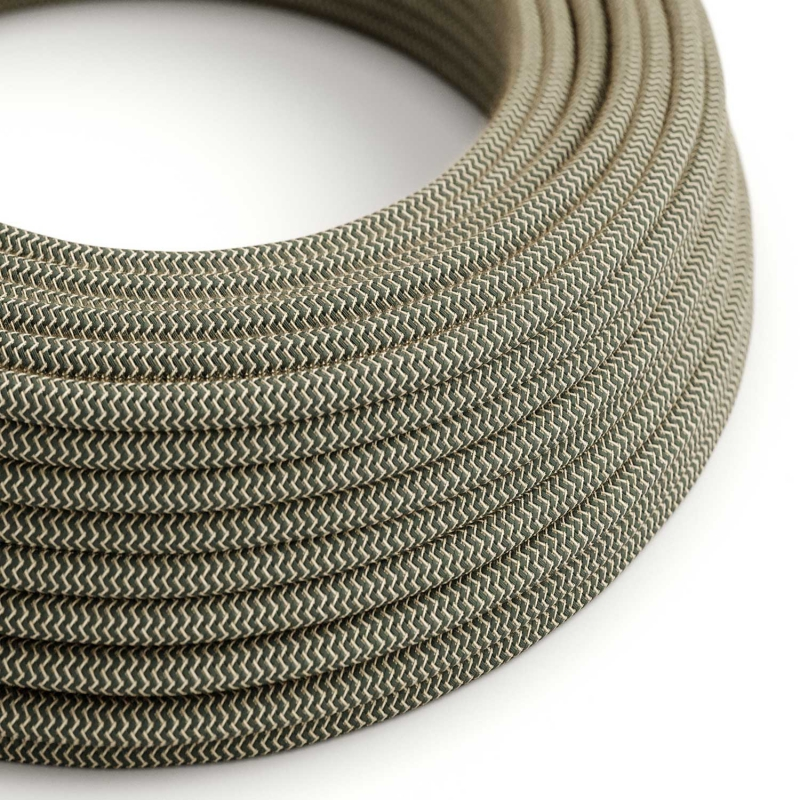 RD74 Anthracite ZigZag Round Linen & Cotton Electrical Fabric Cloth Cord Cable