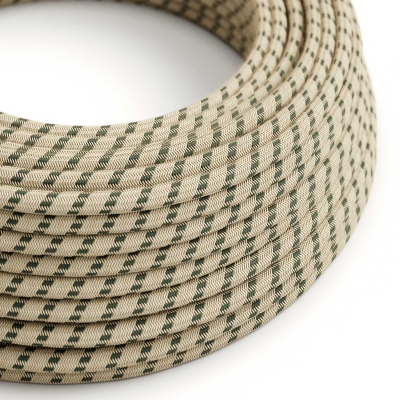 RD54 Anthracite Stripes Round Linen & Cotton Electrical Fabric Cloth Cord Cable