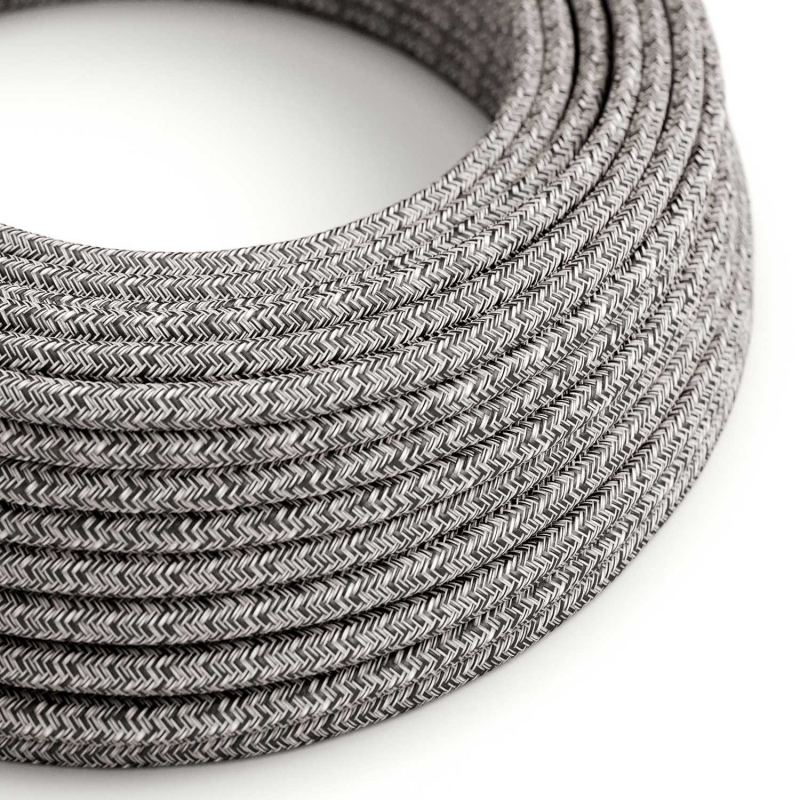 RS81 Black Onyx Tweed Round Cotton, Linen & Glitter Electrical Fabric Cloth Cord Cable