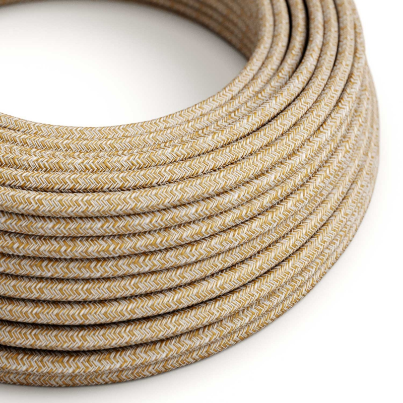 RS82 Russet Tweed Round Cotton, Linen & Glitter Electrical Fabric Cloth Cord Cable