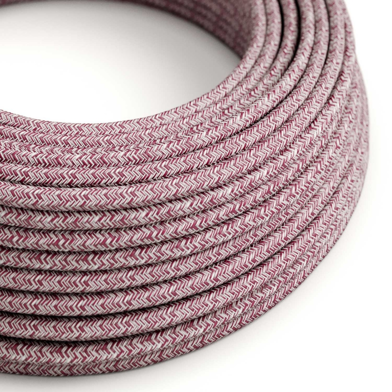 RS83 Burgundy Tweed Round Cotton, Linen & Glitter Electrical Fabric Cloth Cord Cable