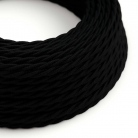 TC04 Black Twisted Cotton Electrical Fabric Cloth Cord Cable