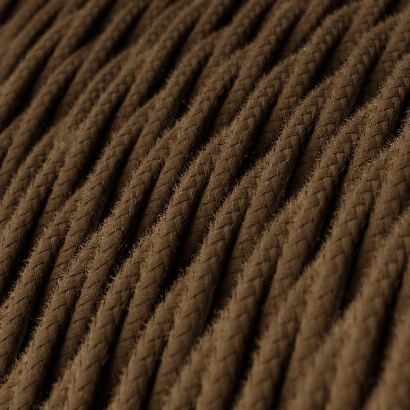 TC13 Brown Twisted Cotton Electrical Fabric Cloth Cord Cable