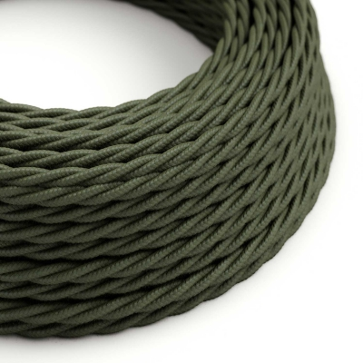 TC63 Green Grey Twisted Cotton Electrical Fabric Cloth Cord Cable