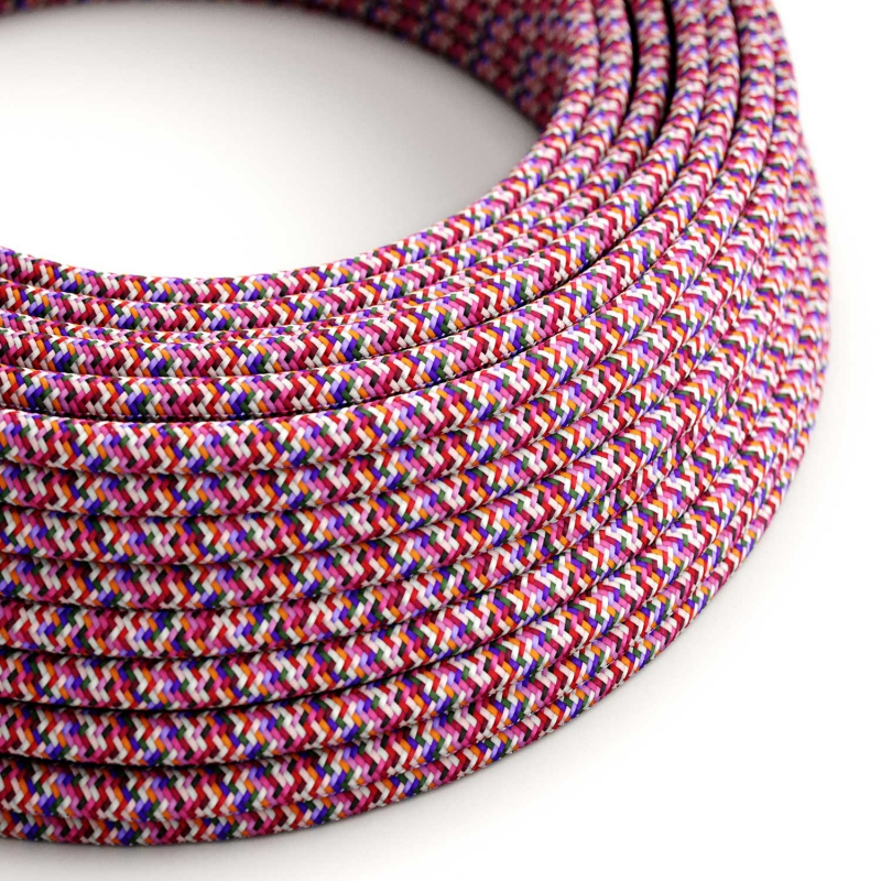 RX00 Pixel Fuchsia Round Rayon Electrical Fabric Cloth Cord Cable