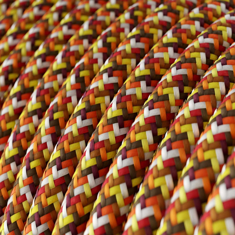 RX01 Pixel Orange Round Rayon Electrical Fabric Cloth Cord Cable