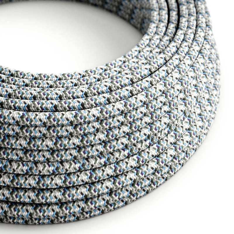 RX04 Pixel Ice Round Rayon Electrical Fabric Cloth Cord Cable