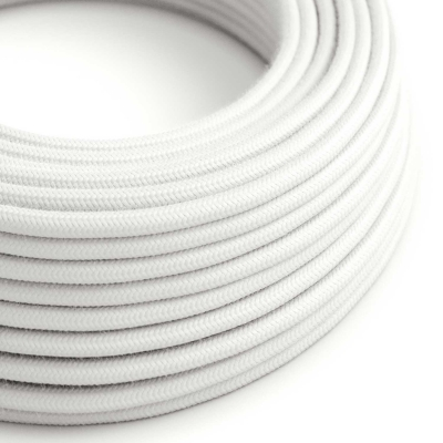 RC01 White Round Cotton Electrical Fabric Cloth Cord Cable