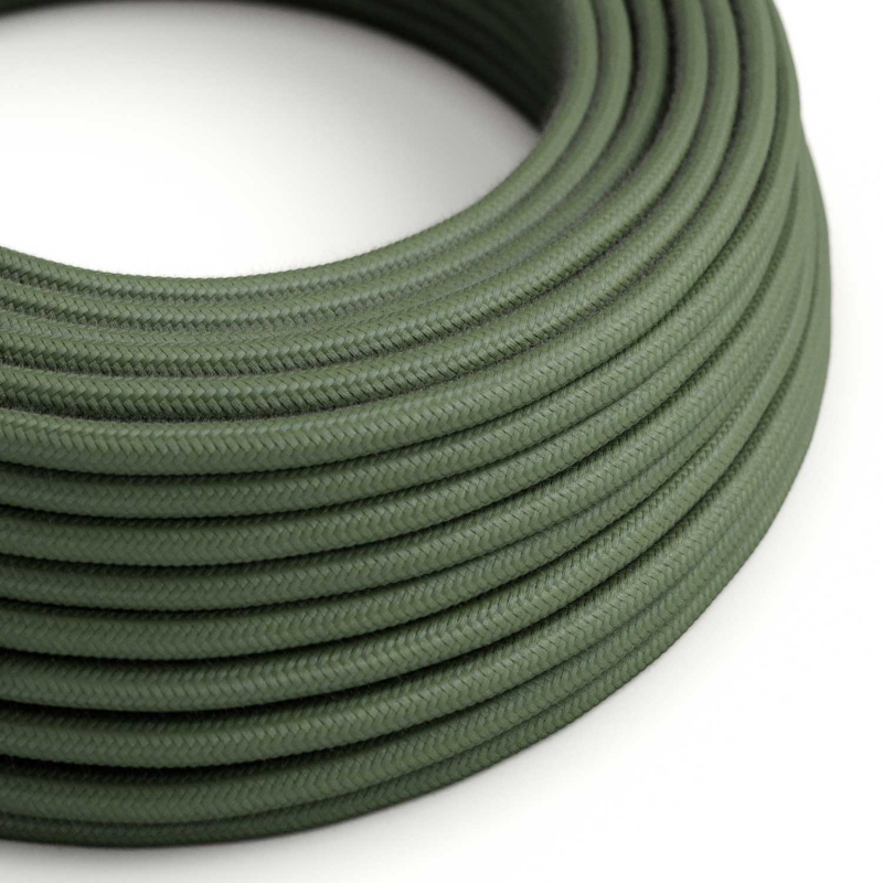 RC63 Green Grey Round Cotton Electrical Fabric Cloth Cord Cable