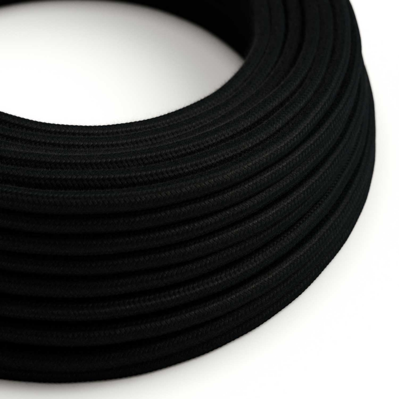 RC04 Black Solid Round Cotton Electrical Fabric Cloth Cord Cable