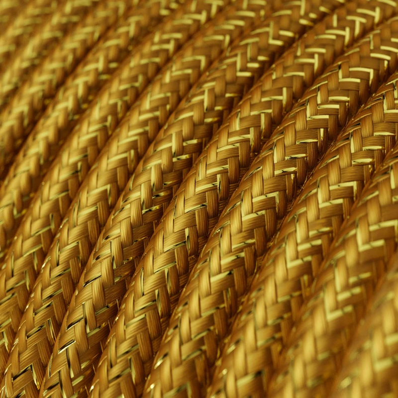 RL05 Gold Glitter Round Rayon Electrical Fabric Cloth Cord Cable