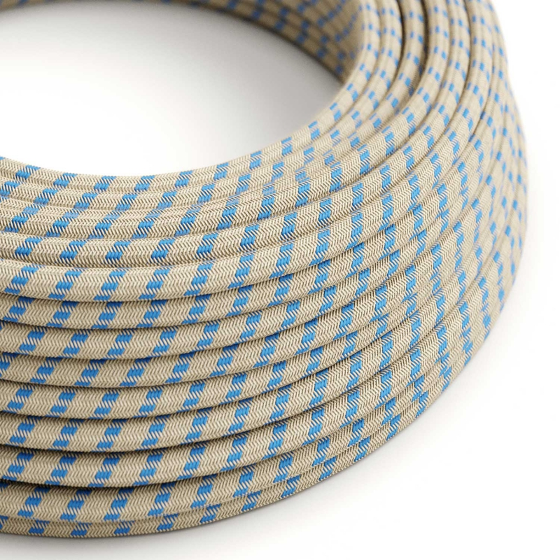 RD55 Steward Blue Stripes Round Cotton & Linen Electrical Fabric Cloth Cord Cable