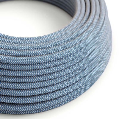 RD75 Steward Blue ZigZag Round Cotton & Linen Electrical Fabric Cloth Cord Cable