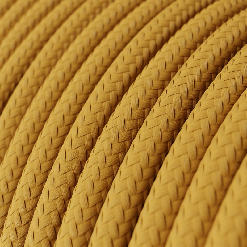RM25 Mustard Round Rayon Electrical Fabric Cloth Cord Cable