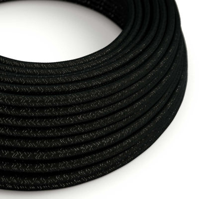 RL04 Black Glitter Round Rayon Electrical Fabric Cloth Cord Cable