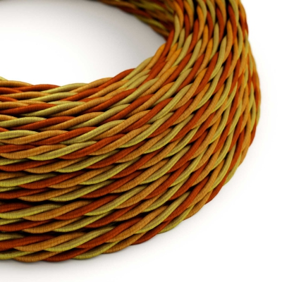 TG04 Orange Twisted Rayon Electrical Fabric Cloth Cord Cable
