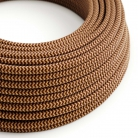 RZ23 ZigZag Gold & Burgundy Round Rayon Electrical Fabric Cloth Cord Cable