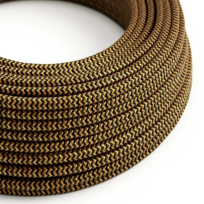 RZ24 ZigZag Gold and Black Round Rayon Electrical Fabric Cloth Cord Cable