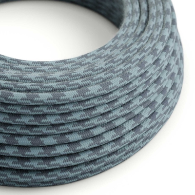 RP25 Bicoloured Stone Grey & Ocean Round Cotton Electrical Fabric Cloth Cord Cable