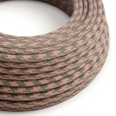 RP26 Bicoloured Ancient Pink & Grey Round Cotton Electrical Fabric Cloth Cord Cable