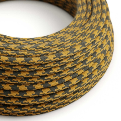 RP27 Bicoloured Golden Honey & Anthracite Round Cotton Electrical Fabric Cloth Cord Cable
