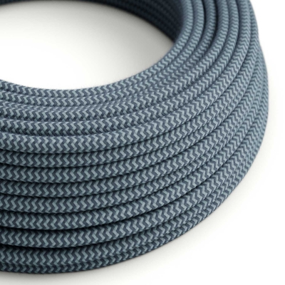 RZ25 ZigZag Stone Grey & Ocean Round Cotton Electrical Fabric Cloth Cord Cable